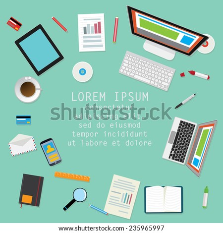 Top view of the desk items and computers. - stock vector