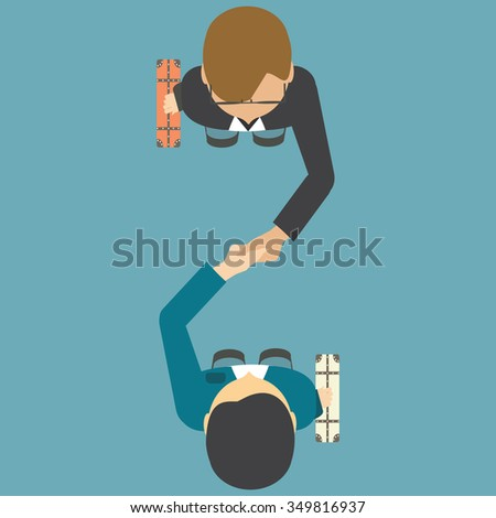 Top view of two people shaking their hands, successful partnership conceptual vector illustration.  - stock vector