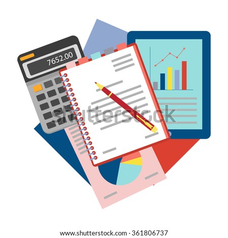Top view of workplace with documents. Concepts for business analysis, consulting,  and financial audit. Brainstorm and calculations. Vector illustration.  - stock vector