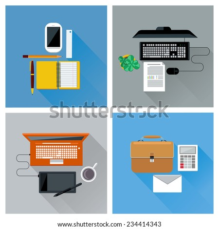Top view of workplace with smartphone, laptop, computer, digital pen, tablet pc, and stationery icon set in flat design - stock vector
