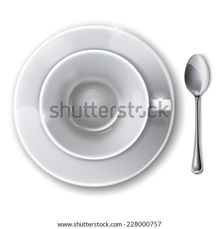 Top view on empty white cup with saucer and  spoon on a white background. Mesh. Isolated.  This file contains transparency. - stock vector