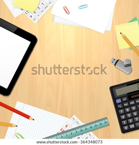 Top view on office desk with business and office supplies. Vector illustration. - stock vector