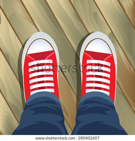 Top view on sneakers. Pair of simple sneakers. Editable vector illustration - stock vector