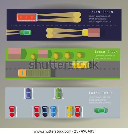 Top view roads parking and transport. Banners set. - stock vector