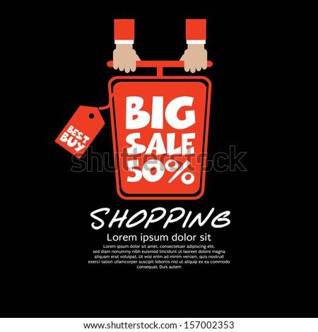 Top View Shopping Cart Big Sale Concept Vector EPS10 - stock vector