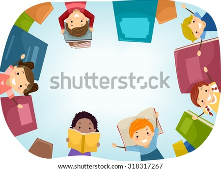 Top View Stickman Illustration of Kids Surrounded by Books - stock vector