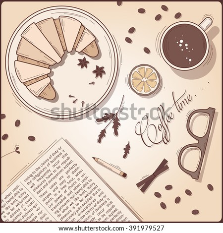 Top view vintage breakfast set. Coffee cup with croissant and morning newspaper. «Coffee time» sketch illustration. Retro poster for coffee shop and coffee house. - stock vector