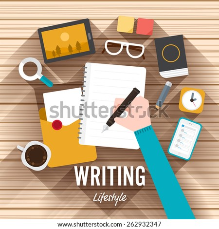 Top view writing marketing flat design on wood background. Vector illustrate for article shopping online. - stock vector