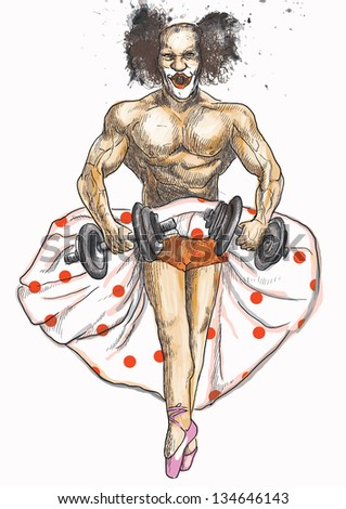 Topic: Funny pictures. Ugly bodybuilder with dumbbells dressed as a ballerina rehearsing for the theater. /// An hand drawing converted into vector (5 editable layers). - stock vector