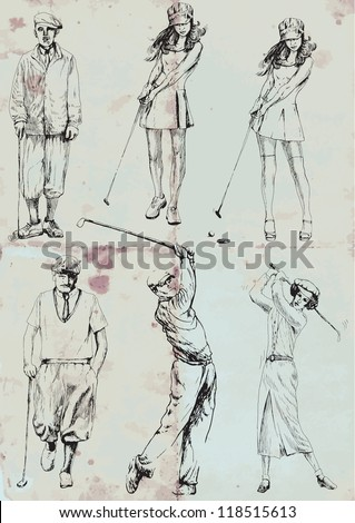 Topic: Golf - collection of golf players (men and women). Collection of drawings (each on a separate layer) on vintage paper in blue color (the paper is separated in the lower layer). - stock vector