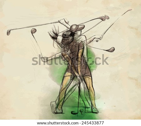 """Topic: GOLF (Complex """"matrix"""" motion, Golf swing). An hand drawn illustration converted into vector. Vector is easy editable in layers and groups. - stock vector"""
