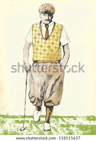 Topic: Golf (golfer - man). Vintage processing, old fashioned player. Description: Editable in five layers. Number of colors in each layer: no more than sixteen. - stock vector