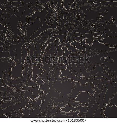 Topographic map natural color - stock vector