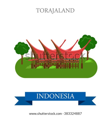 Toraja Land in Rantepao, Indonesia. Flat cartoon style historic sight showplace attraction web site vector illustration. World countries cities vacation travel sightseeing Asia collection. - stock vector