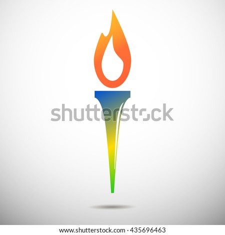 Torch vector icon isolated on white. Olimpic fire. Symbol of Olympic games. Flambeau flat style logo. Cresset sign. Flame illustration. Flaming figure. Colors of Brazil flag. Colorful emblem - stock vector