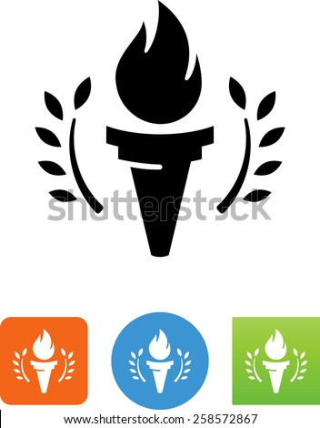 Torch with laurel symbol for download. Vector icons for video, mobile apps, Web sites and print projects.  - stock vector