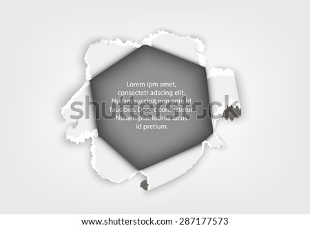 torn paper, a hole in a sheet of paper with text and shadow - stock vector