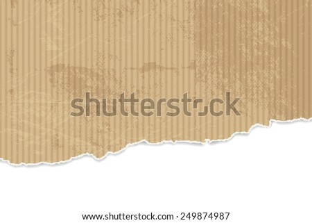 Torn paper background - corrugated cardboard texture with ripped edges - stock vector