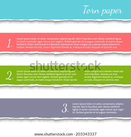 Torn paper background with space for your text. Vector EPS10 illustration isolated on white background. Design elements. - stock vector