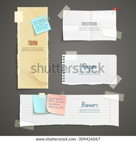 Torn paper lined plaid white yellow clear and folded vertical and horizontal banner set isolated vector illustration - stock vector