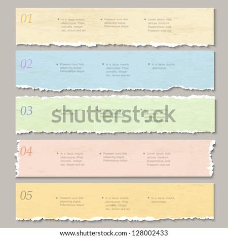 Torn paper numbered banners. Design template for infographics, website layout. Vector EPS10 - stock vector