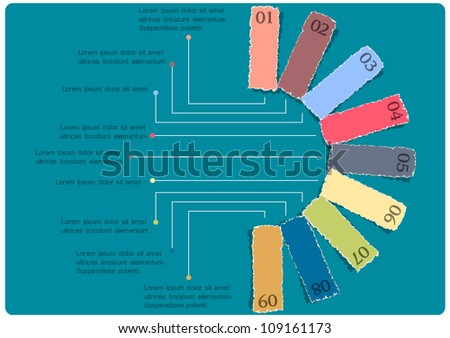 Torn paper numbered banners. Vector design template - stock vector