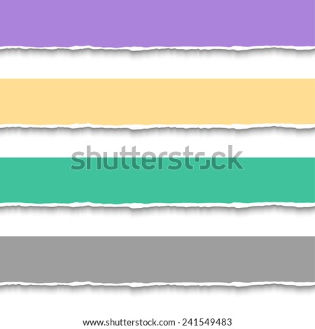 Torn paper pieces for banners. Vector EPS10 illustration. Design elements - paper with ripped edges - stock vector