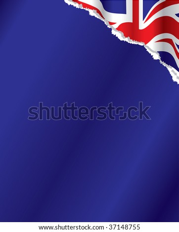 torn paper with british flag underneath - stock vector
