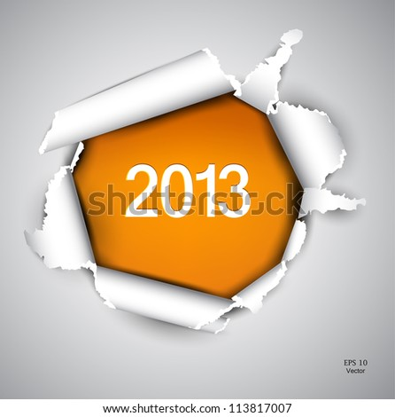 Torn paper with space for text. 2013 - stock vector