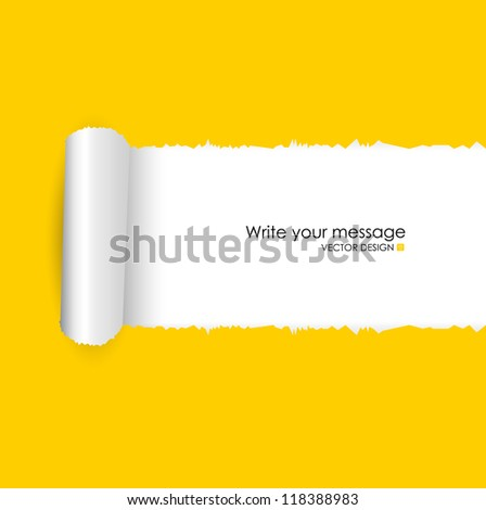 Torn paper with space for text. Vector illustration. - stock vector