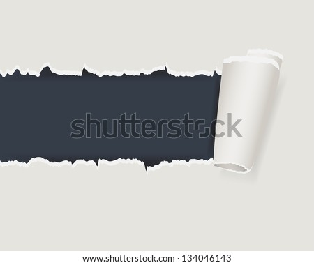 Torn paper with space for text with dark background. - stock vector