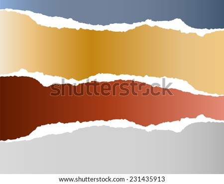 Torn strips of paper - stock vector