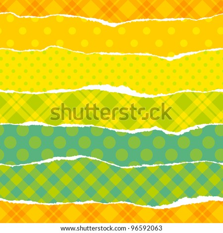 Torn wrapping paper. Seamless vector vibrant pattern. - stock vector