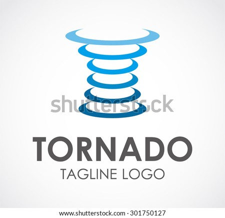 Tornado circle blue round abstract vector logo design template business icon company identity symbol concept - stock vector