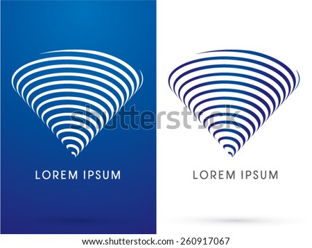 Tornado, storm, whirlwind, designed in triangle shape byline blue and white line, logo, symbol, icon, graphic, vector. - stock vector