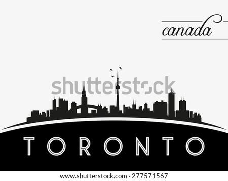 Toronto Canada skyline silhouette, black and white design, vector illustration - stock vector