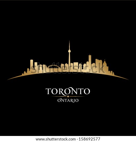 Toronto Ontario Canada city skyline silhouette. Vector illustration - stock vector