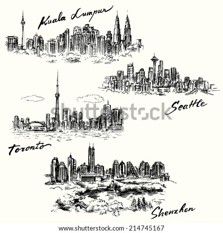 Toronto, Seattle, Shenzhen, Kuala Lumpur - hand drawn collection - stock vector