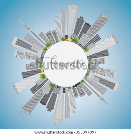Toronto skyline with grey buildings, blue sky and copy space. Vector illustration. Business travel and tourism concept with place for text. Image for presentation, banner, placard and web site. - stock vector