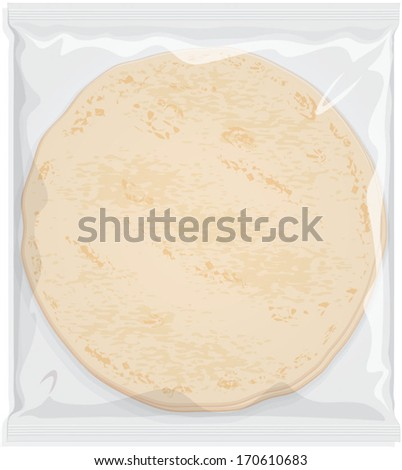 Tortilla Wrap Wheat Flour or Maize Flatbread in clear plastic or cellophane film pack. Vector visual on white background. Fully adjustable & scalable. - stock vector
