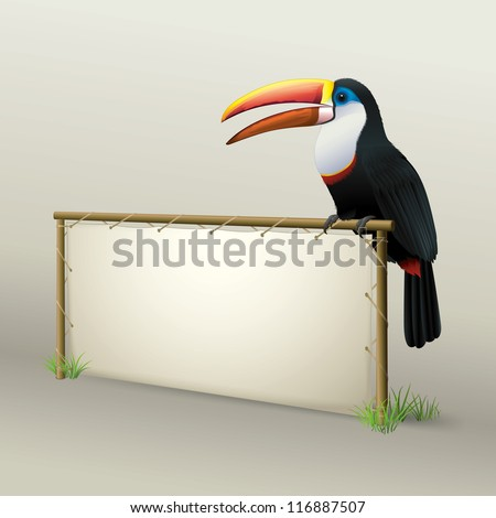 Toucan Sitting on Natural Advertising Panel made from Wood and Leather - stock vector