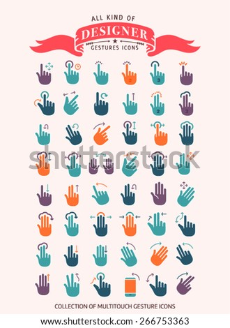 Touch Gestures and Hand Icons - Designer collection - stock vector