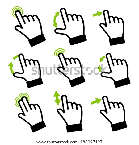 Touch Gestures Icons. Computer technology.  Design for touch-sensitive screen.  - stock vector