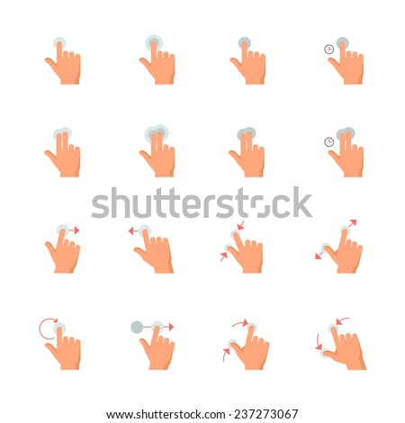 Touch Gestures Icons : Flat Icon Set for Web and Mobile Application - stock vector