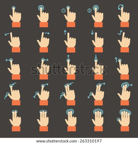 Touch gestures  icons set, flat design  - stock vector