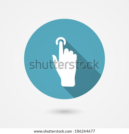 touch icon, hand with pressed finger in flat style - stock vector