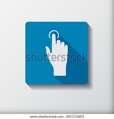 Touch icon, hand with pressed  finger in flat style. Vector Illustration.  - stock vector