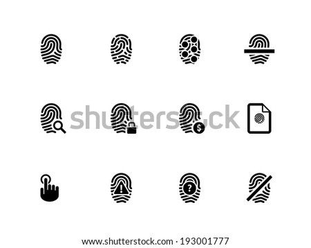 Touch id fingerprint icons on white background. Vector illustration. - stock vector