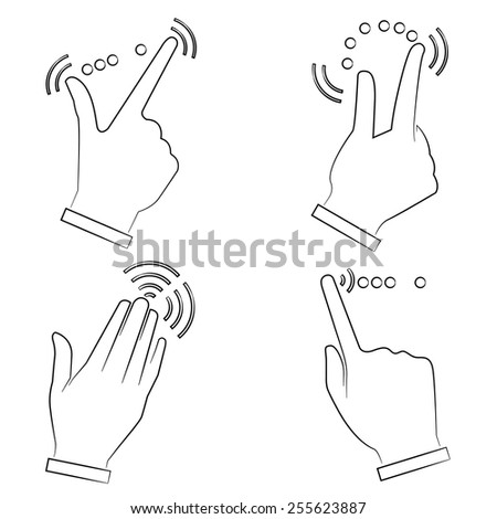 touch screen gesture, interface, sketch line - stock vector