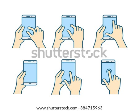 Touch screen gestures icon for smartphone. Vector icon for a mobile app user interface or manual. Smartphone gesture icon in four different styles - stock vector